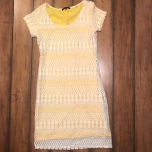 Tiana B. White Lace and Yellow Dress